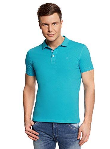 oodji Ultra Herren Pique-Poloshirt Basic Blau (7600N)