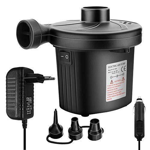 Newdora Elektrische Luftpumpe, Elektropumpe Power Pump mit 3 Luftdüse für aufblasbare, Luftpumpe inkl.für Camping Luftmatratzen, planschbecken, Schlauchboote, Matratze, Schwimmring
