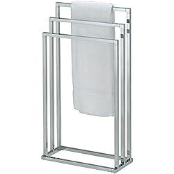 IDIMEX Porte-Serviettes sur Pied KUNO Portant pour vêtements et Linge de Salle de Bain avec 3 Niveaux d'étendage sur différentes hauteurs, Structure en métal chromé