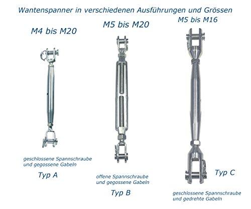 Spanner 10 Stück Spannschloss M5 Edelstahl A4 Seil