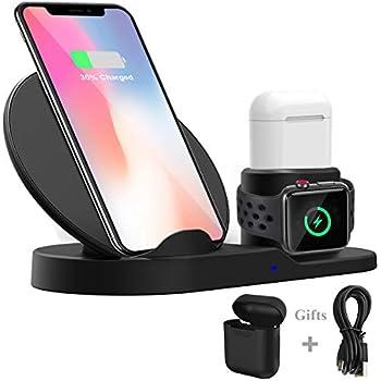 Wonsidary 3 en 1 Chargeur sans Fil pour Apple, Support de Charge Rapide Qi Station de Recharge