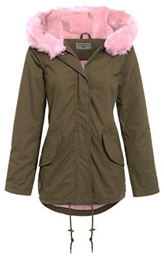 SS7 Damen Kunst Pink Fur Parka Mantel, Sizes 8 to 16 Khaki / Rosa