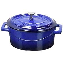Pentole Agnelli Oval Mini Casserole Pot with Two Cast Iron Handles, Diameter-9 cm, Red Blue, 0.4 Litres