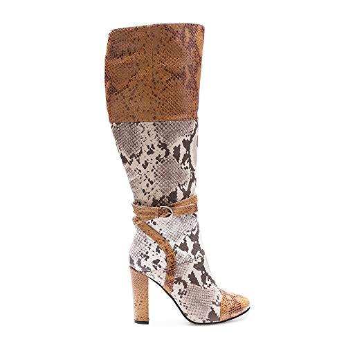 WHL.LL Frauen Runder Kopf Dicker Absatz Hohe Stiefel Farbabstimmung Seitlicher Reißverschluss Hoher Absatz Stiefel Mode Stiefel (Absatzhöhe: 8Cm), A,35