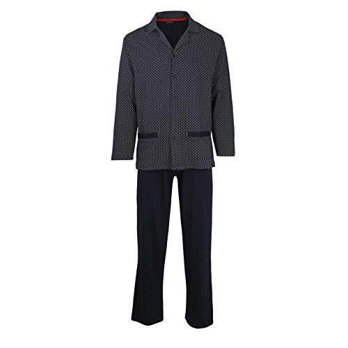 GÖTZBURG Herren Pyjama, langarm, Baumwolle, Single Jersey, navy, bedruckt 50 (Zwei-knopf-single Herren)