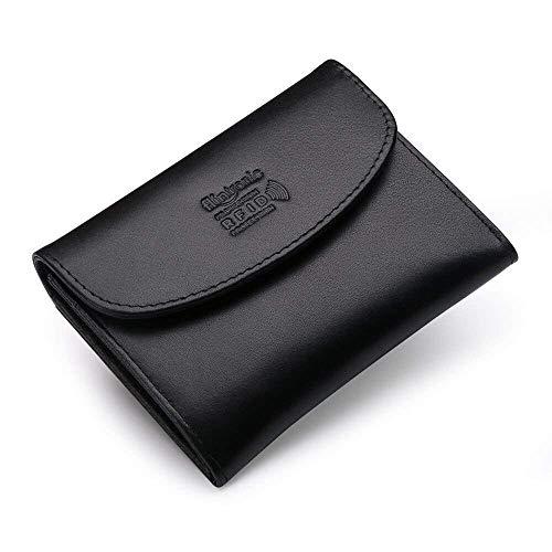flintronic  Portafoglio Uomo Pelle, Portamonete Carte di Credito e Tasche Pelle Porta Carte di Credito e Tasche Pelle, RFID/NFC Blocco Portafoglo Morbido Sottile Nero con Scatola