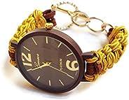 Orologio Elegante da Polso Donna Marrone Oro Bracciale di Nastro Regolabile Regalo Unico per Lei