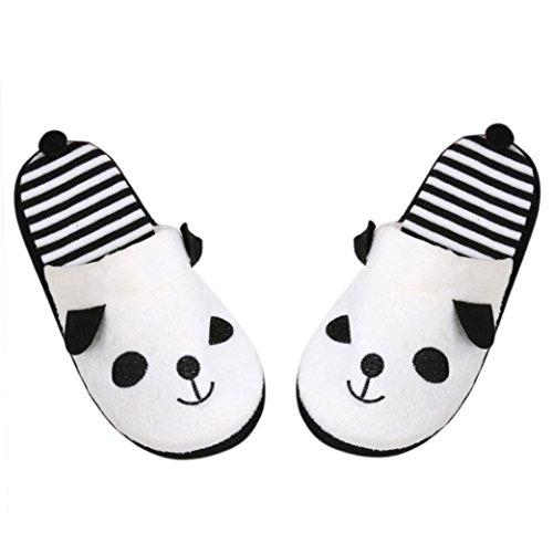 Chaussons Winter Plush Slippers, Amlaiworld Belle Slippers Cartoon Panda chaussons Pantoufles de plancher à la maison Pantoufles Soft Stripe Chaussures femelles