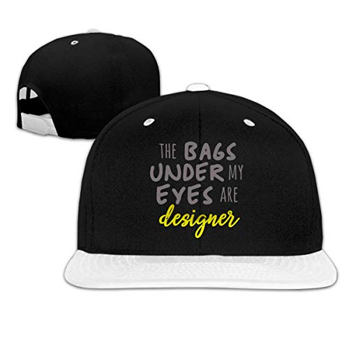 LLALUA The Bags Under My Eyes Are Designer Hip Hop Snapback Baseball Hat Mens White -