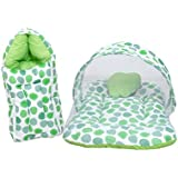 RBC RIYA R Baby Mattress With Mosquito Net & Sleeping Bag Combo 0-6 Months (0-6 Months, Green Dot)