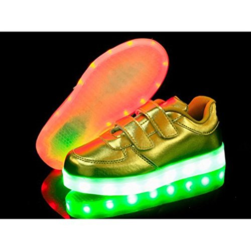 (Présents:petite serviette)JUNGLEST® 7 couleurs Kid Garçon Fille de recharge USB Chaussures LED Light Up Sport lumineux cl Or