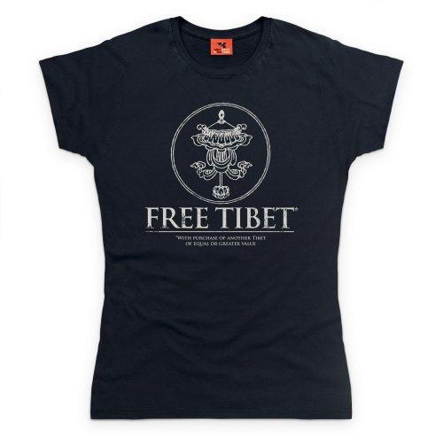 Free Tibet T-Shirt, Damen, Schwarz, 2XL (T-shirt Free Tibet Schwarz)