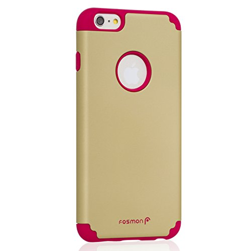 """Fosmon HYBO-DUOC Abnehmbar Hybride Silicone + PC Case Cover hülle für Apple iPhone 6 Plus (5.5"""") - Lila / Teal rot / goldfarben"""