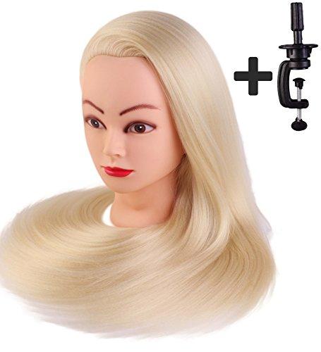 Tête à coiffer de cosmétologie 60 cm, 100% cheveux synthétiques couleur blonde, avec serre-joint de table.