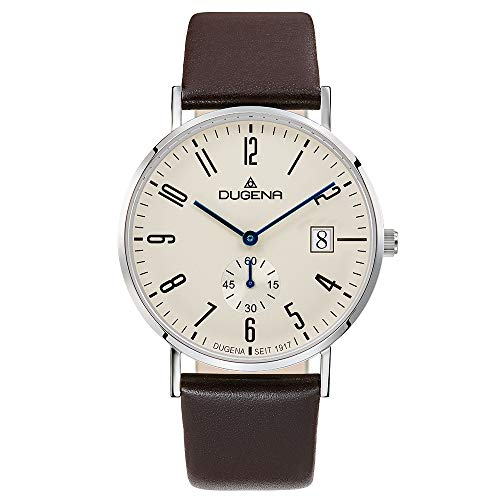 Dugena Herren Quarz-Armbanduhr, Saphirglas, Lederarmband, Mondo, Braun/Silber, 4460664