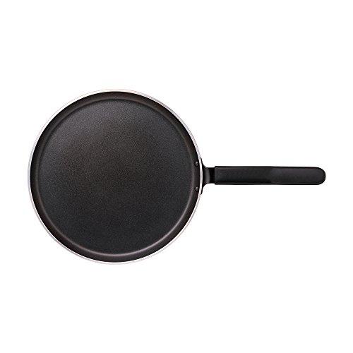 Nirali crepe 26cm/pancake/flatbread/dosa / chapatti Teflon Platinum metal-cuchara amable pan antiadherente, negro