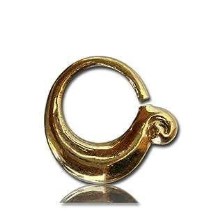 Piercing anneaux dans le nez épaisseur Chic-Net septum feuille 1 mm de large nickel d'or boucle d'oreille antique exotique gratuitement