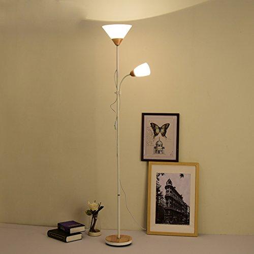 Best wishes shop lampada da pavimento- Lampada da terra per madre e figlio per studio da camera da letto Ufficio Soggiorno Divano Design Illuminazione Bianco e legno 178cm led Standing Lamp