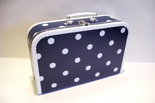Koffer Pappe, dunkelblau + große weiße Punkte, groß, 35cm, Pappkoffer