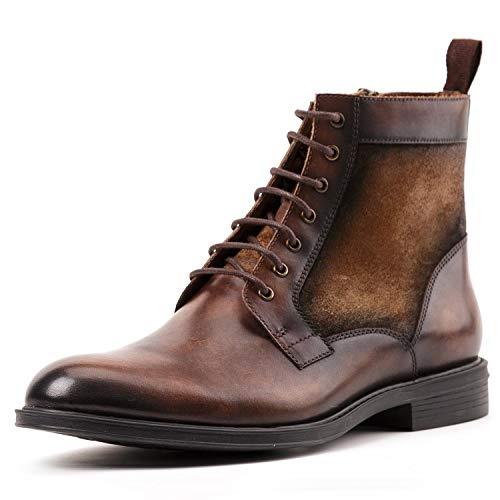 Shoe house Mens Dress Boots Cap Toe Lace up Leather Winter Oxford Casual Comfortable Ankle Combat Boots for Men,B,EU38/US6(M)/UK5 Cap Toe Lace Up Cap
