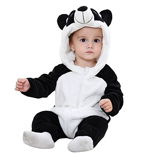 BabyPreg Unisex Baby Tier Halloween Kostüme Hooded Flanell Spielanzug Outfits (90cm / 12-18 Monate, (Outfit Panda Für Baby)