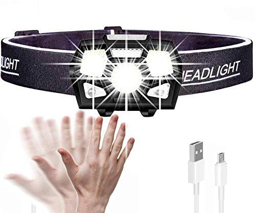 Linterna Frontal,Linterna LED de 7000 lúmenes Sensor de movimiento Lámpara de cabeza de casco duro ultrabrillante Linterna potente USB recargable Impermeable Iluminación de emergencia