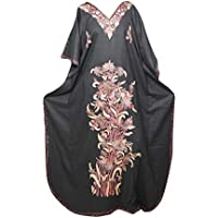 Mogul Interior Women Caftan Dress Embellished Black Lounge Kimono Caftan Cotton Gown 3XL