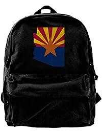 fregrthtg Unisex Flag Map of Arizona Casual Style Lightweight Canvas Backpack School Bag Travel Daypack Rucksack