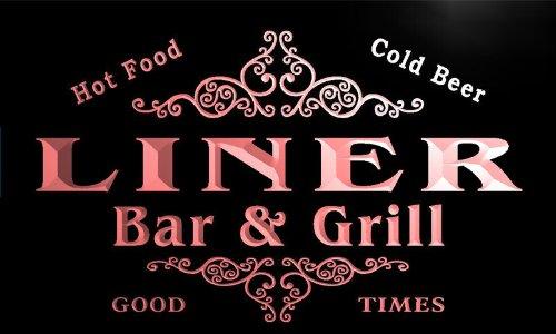 u26569-r LINER Family Name Bar & Grill Home Beer Food Neon Sign Barlicht Neonlicht Lichtwerbung Bar-liner