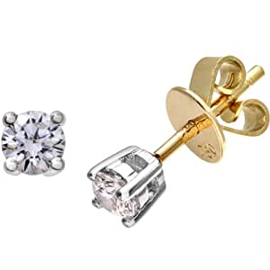 Naava Women's 18 ct Yellow Gold Stud Earrings, IJ/I Certified Diamonds, Round Brilliant, 0.25ct