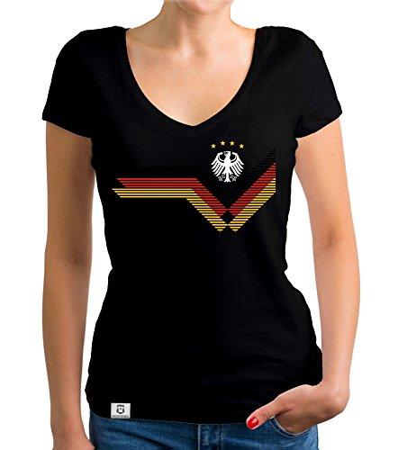 Damen T-Shirt V-Neck - Deutschland Fußball WM Schwarz- Weiss L