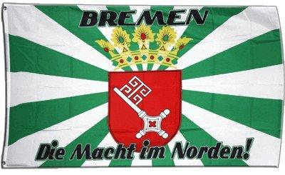 Fahne / Flagge Bremen - Die Macht aus dem Norden + gratis Sticker, Flaggenfritze®