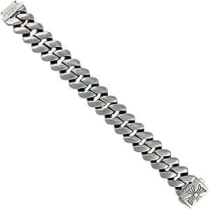 Men's-Acier inoxydable-Carré-Link Bracelet chaîne croix de Malte gros fermoir cadenas fabriquée à la main brillant 21 x 8,5 cm de Long/21.59 centimètres