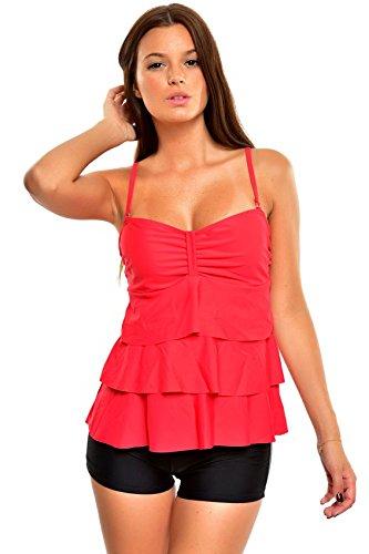Eleganter Figurumspielender Push Up Tankini mit Raffungen Hotpants/ Bikinihose Designed by Octopus / verschiedene Muster 1077BH-f3927 Rot/Schwarz