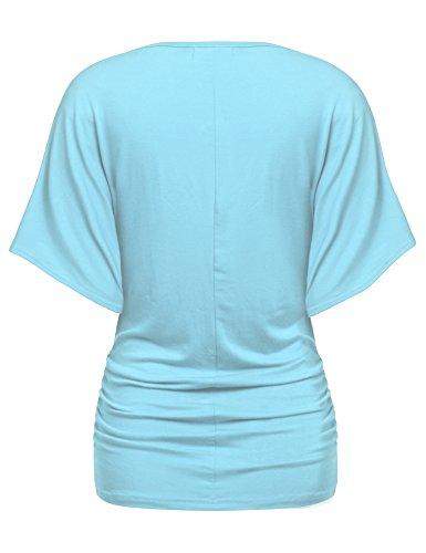 Zeagoo Damen V-Ausschnitt T-shirt Kurzarm Batwing Fledermaus Sommer Shirt Tunika Bluse Hellblau
