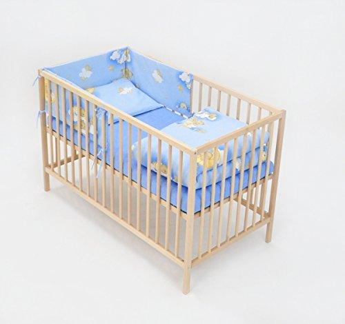 Set completo di 6 pezzi lenzuola per lettino 120x60 neonato bambino (motivo: orsi in cielo_azzurro)