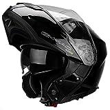 G-Mac Glide Evo - Casco da moto con apertura frontale, colore: Nero lucido