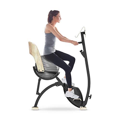 Klarfit Roomik Cycle Ergometer mit Gymnastikball • Heimtrainer • Fitness Fahrrad • x-Bike 8 kg Schwungmasse • 8 Widerstandsstufen • Riemenantrieb • Tablethalter • Birke • max. 100 kg • schwarz-braun