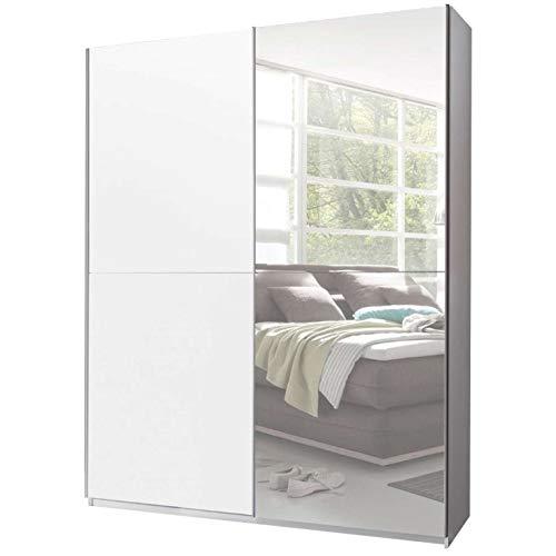 Avanti trendstore - victoria - armadio con ante scorrevoli e specchio, in legno laminato, molto spazioso, disponibile in 2 colori diversi. dimensioni: lap 170x196x60 cm (bianco)