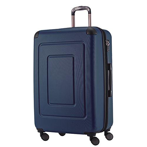 Happy Trolley - Hartschalen-Koffer Koffer Trolley Rollkoffer Reisekoffer Lugano, sehr leicht, TSA, 75 cm, 123L, Dunkelblau