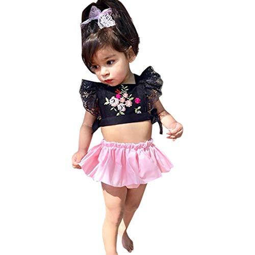 Mitlfuny Kleidung Set Kleid Damen Sommer Elegant Baby Mädchen Outfits & Set,Kleinkind Baby mädchen drucken Spitze Sticken rückenfreie Tops + Rock Outfits Kleidung gesetzt