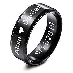 Idea Regalo - MeMeDIY FEDI Nuziali per Uomo per Fasce da Donna in Acciaio Inossidabile per Ragazze, con Regolatore della Dimensione Dell'anello - Incisione Iersonalizzata (Nero Colore, 8.0mm Larghezze, 20 Taglie)