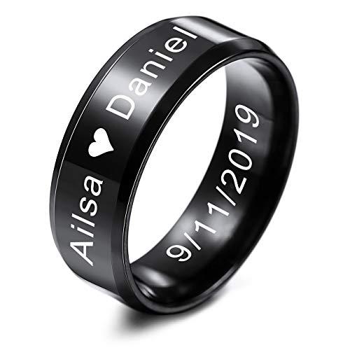 MeMeDIY Herren Trauringe Für Frauen Jungen Mädchen Wasserdicht Edelstahl Versprechen Ring, Bündeln mit Ringgröße Einsteller - Personalisiert Gravur (Schwarz Farben, 8.0mm Breiten, 57 Größe)