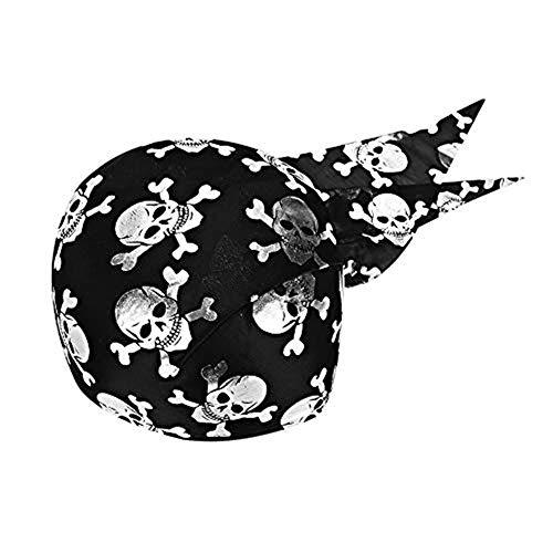 LONTG Kopftuch Halloween mit Totenkopf Mütze lustig leicht Kopfbedeckungen unisex für Damen Herren Erwachsene Piratenhut Slouch für weihnachten Karneval Party Gold Schwarz Rot Silber Slouch Hut