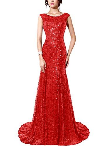Find Dress Femme Elégant Sexy Robe de Soirée/Mariage/Cérémonie sans Manches Traîne Royale en Sequins Rouge