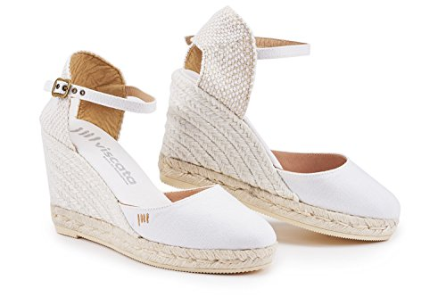 VISCATA Satuna Ankle-Strap, Closed Toe, Classic Espadrilles with 3-inch Heel Made in Spain White Jute