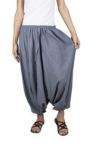 Lofbaz Mujer Rayas Algodón Soltar Entrepierna Cordón Harén Pantalones Color Sólido Gris XL