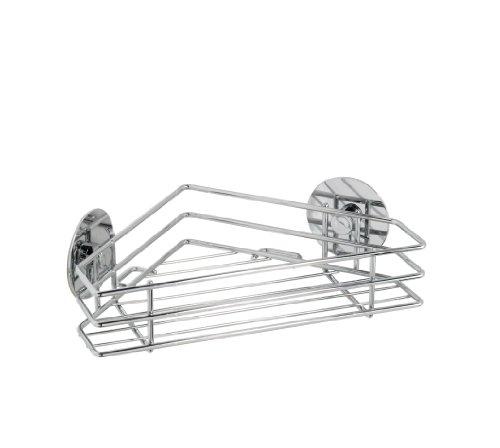 Wenko Turbo-Loc Küchen-Eckablage, Küchenregal aus verchromtem Metall in Silber - Befestigung ohne Bohren, 20,5 x 7 x 20,5cm