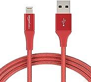 Dubbel gevlochten nylon USB A aan Lightning compatibele kabel van AmazonBasics - Apple Mfi-gecertificeerd, rood, 1,8 meter