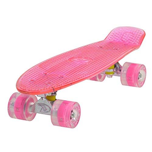 LAND SURFER® Retro Cruiser, komplettes Skateboard mit durchsichtigem 56-cm-Deck - ABEC-7-Kugellager - PU-LED-Räder (59 mm), die bei Bewegung aufleuchten + Tragetasche - Klares Deck ROSA / ROSA LED